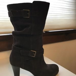 Brown suede mid calf boot